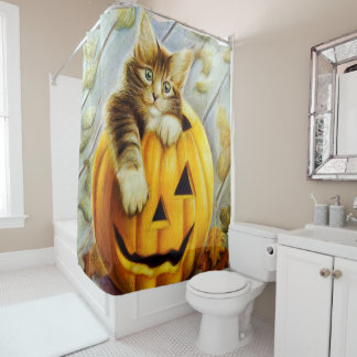 Beautiful cute kitten on pumpkin, halloween shower curtain