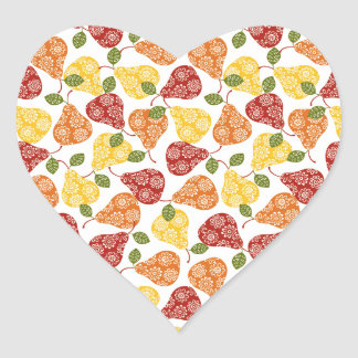 Beautiful Cute pears in autumn colors Heart Sticker