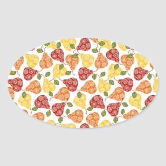 Beautiful Cute pears in autumn colors Oval Sticker