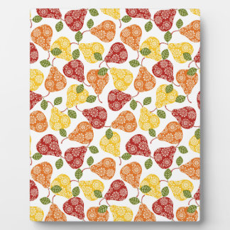 Beautiful Cute pears in autumn colors Plaque