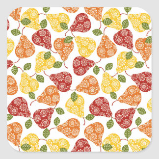 Beautiful Cute pears in autumn colors Square Sticker