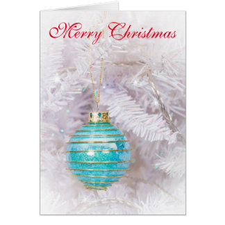 Beautiful Cyan Bauble Christmas Card