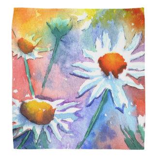 Beautiful Daisy Floral Watercolour Bandana