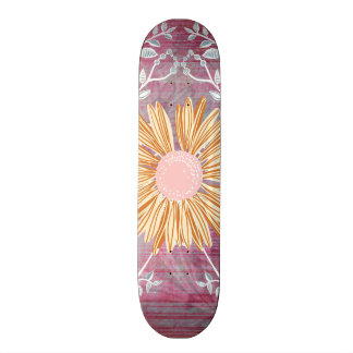 Beautiful Daisy Flower Distressed Floral Chic Skateboard