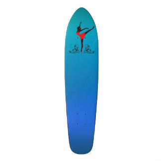 Beautiful dancing woman silhouette floral ornament skate boards