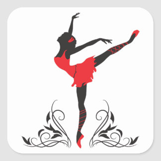 Beautiful dancing woman silhouette floral ornament square sticker