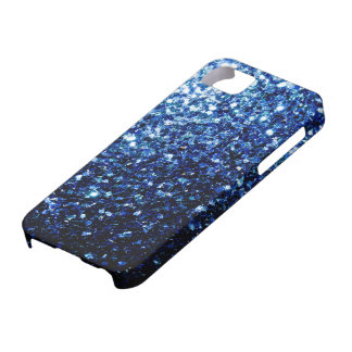 Beautiful Dark Blue glitter sparkles Barely There iPhone 5 Case