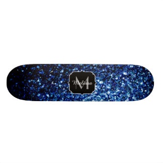 Beautiful Dark Blue glitter sparkles Monogram 21.6 Cm Old School Skateboard Deck