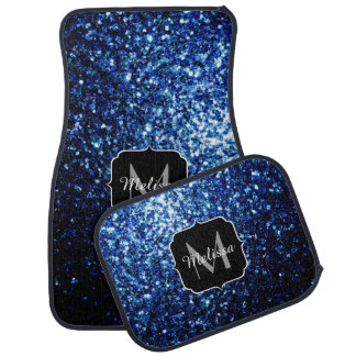 Beautiful Dark Blue glitter sparkles Monogram Car Mat