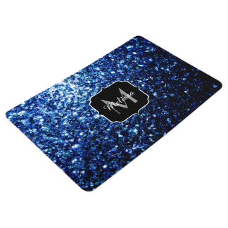 Beautiful Dark Blue glitter sparkles Monogram Floor Mat