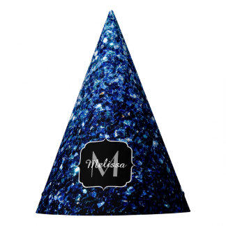 Beautiful Dark Blue glitter sparkles Monogram Party Hat