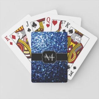Beautiful Dark Blue glitter sparkles Monogram Playing Cards