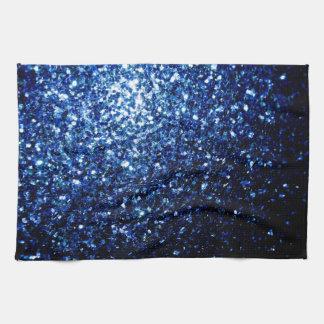 Beautiful Dark Blue glitter sparkles Tea Towel