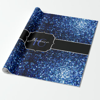 Beautiful Dark Blue sparkles Sweet 16 Wrapping Paper
