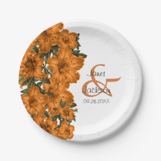 Beautiful Dark Ornage Lilies Paper Plate