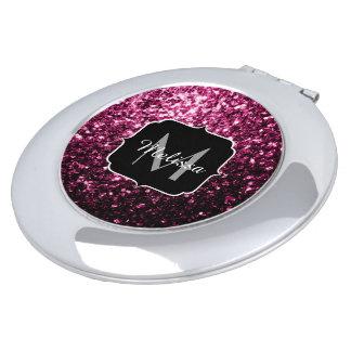 Beautiful Dark Pink glitter sparkles Monogram Vanity Mirror
