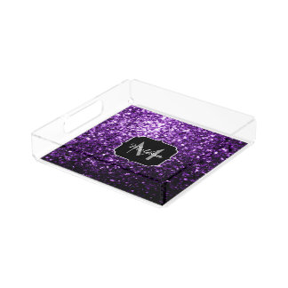 Beautiful Dark Purple glitter sparkles Monogram Acrylic Tray
