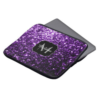 Beautiful Dark Purple glitter sparkles Monogram Laptop Sleeve