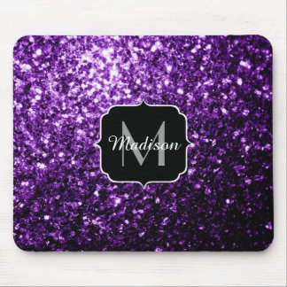 Beautiful Dark Purple glitter sparkles Monogram Mouse Mat