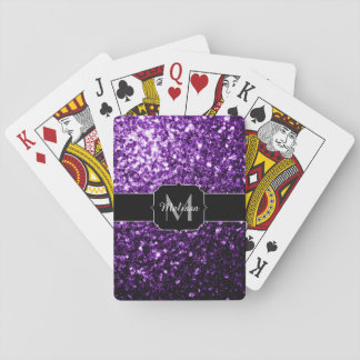 Beautiful Dark Purple glitter sparkles Monogram Playing Cards