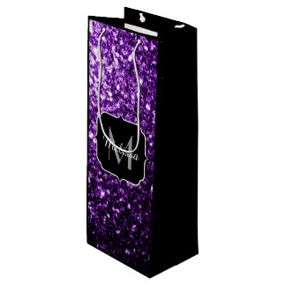 Beautiful Dark Purple glitter sparkles Monogram Wine Gift Bag
