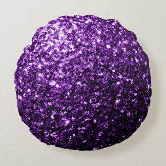 Beautiful Dark Purple glitter sparkles Round Cushion