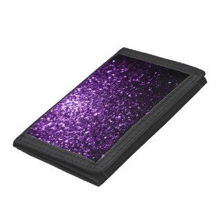 Beautiful Dark Purple glitter sparkles Tri-fold Wallet