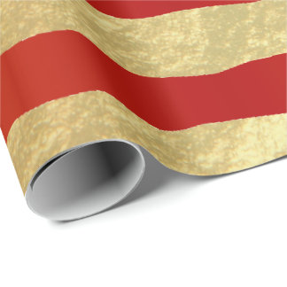 Beautiful Dark Red and Gold Foil Stripes Wrapping Paper