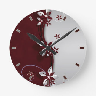 Beautiful dark red and silver grey effect flowers round wall clocks