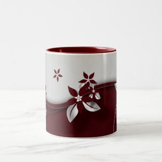 Beautiful dark red and silver grey effect flowers Two-Tone coffee mug