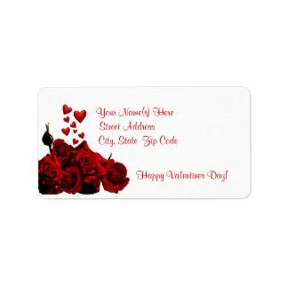 Beautiful Dark Red Rose and Heart Design Address Label