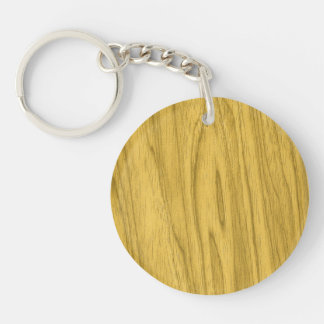 Beautiful Dark Yellow Wood Texture Double-Sided Round Acrylic Key Ring