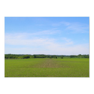 "Beautiful day midwest farm field blue skies photo 5"" x 7"" invitation card"