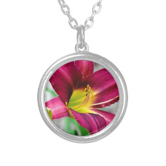Beautiful Daylily Silver Plated Necklace