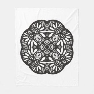 Beautiful Deco Black Square Doodle Fleece Blanket