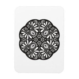Beautiful Deco Black Square Doodle Magnet