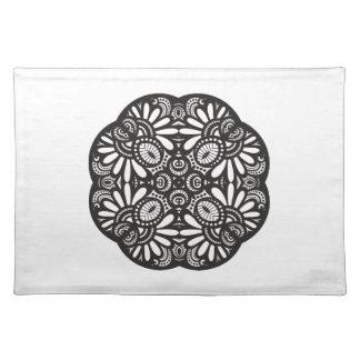 Beautiful Deco Black Square Doodle Placemat