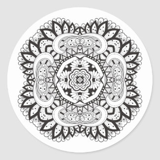 Beautiful Deco Square Doodle Classic Round Sticker