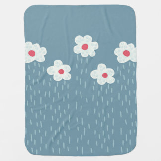 Beautiful Decorative Flower Pattern Rain Clouds Baby Blanket
