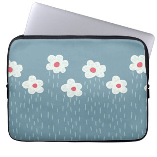 Beautiful Decorative Flower Pattern Rain Clouds Laptop Sleeve