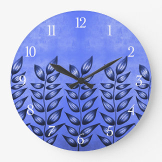 Beautiful Decorative Plant With Pointy Leaves Blue Large Clock