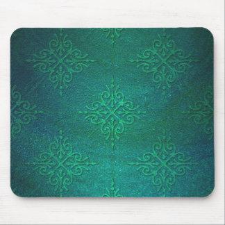 Beautiful Deep Green Rustic Damask Mouse Mat