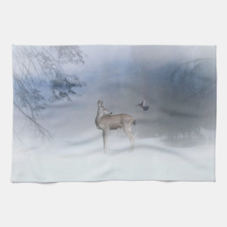Beautiful Deer and Jay in the Snow Dish Towels
