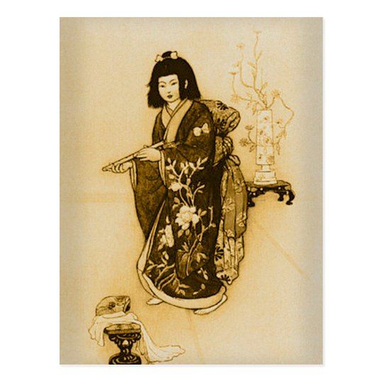 Beautiful Delicate Japan Geisha Sepia with Kimono Postcard