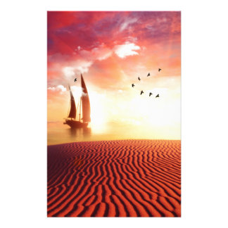 Beautiful desert and ship fantasy illustration customised stationery