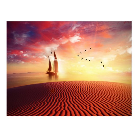 Beautiful desert and ship fantasy illustration postcard