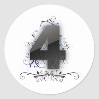 Beautiful design for the number 4 round stickers