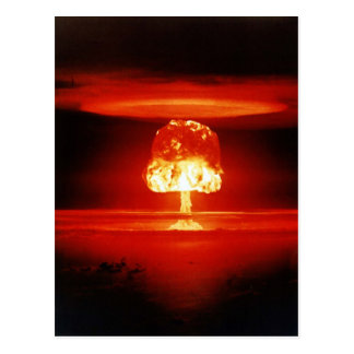 Beautiful Destruction Orange Mushroom Cloud Postcard
