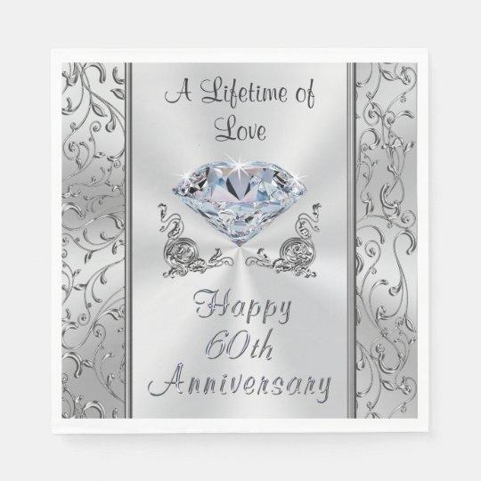 Beautiful Diamond 60th Anniversary Napkins Paper Napkins