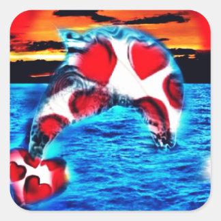 Beautiful Dolphin Square Sticker